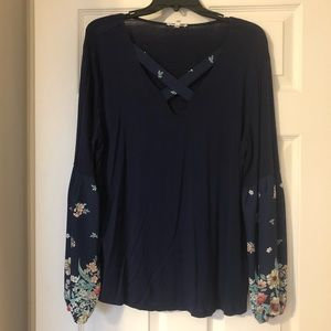 Maurice's Floral Sleeve Top